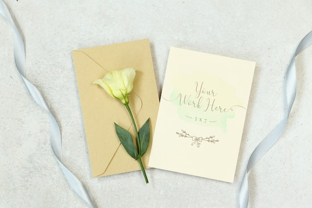 Mockup invitation card with envelope
