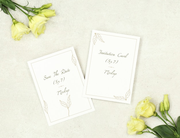 Mockup invitation cards for marriage