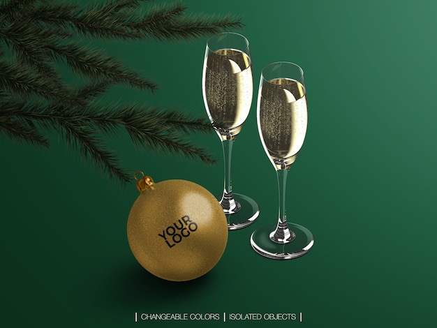 Mockup isolated of isometric christmas ball with champagne glasses