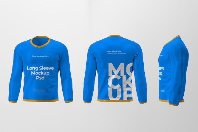 Mockup di design t-shirt manica lunga isolato con vista frontale, posteriore e laterale