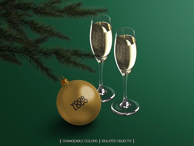 シャンパングラスと等尺性のクリスマスボールから分離されたモックアップ