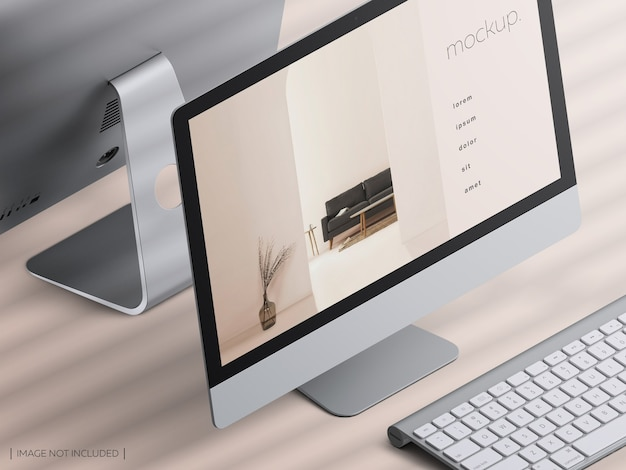 Mockup of isometric desktop computer device screen with keyboard