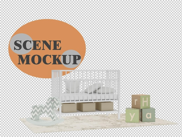 Mockup kids bedroom furniture in 3d rendering