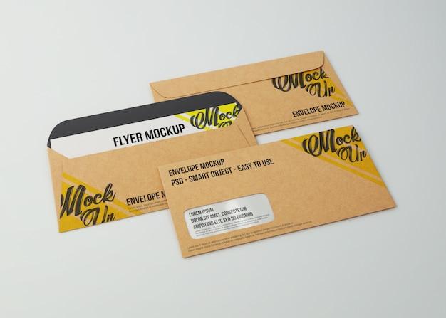 Mockup kraft paper envelopes