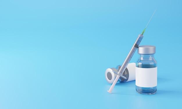 Mockup of label on injection bottle glass vial with syringe