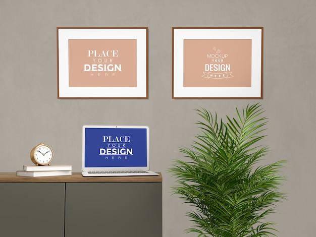 モックアップラップトップ、リビングルームのモダンなインテリアで家を飾るフレーム。
