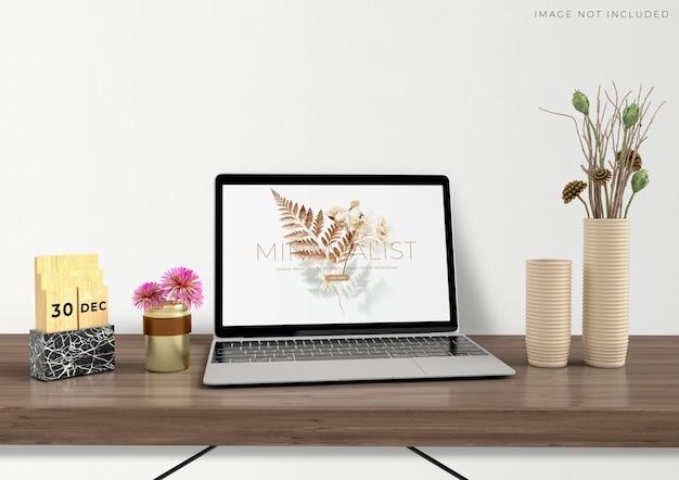 Mockup laptop standing on living room modern interior