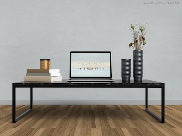 Mockup laptop standing on room modern interior background