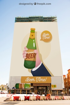 Mockup of large billboard with beer concept