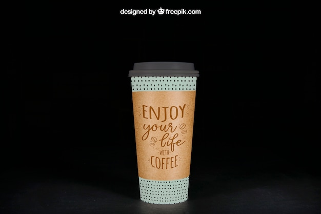 Mockup of large coffee cup