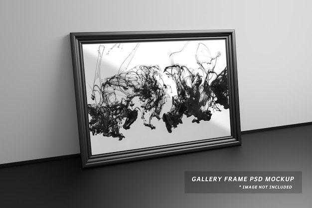 Mockup of large gallery frame standing next to wall