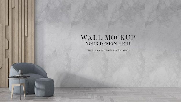 Mockup large wall with pale blue armchair in room