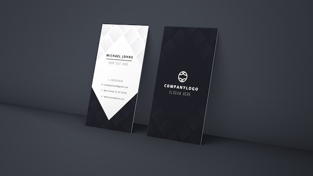 Mockup of leaning business cards