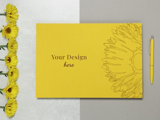 Mockup letter with flowers and pen