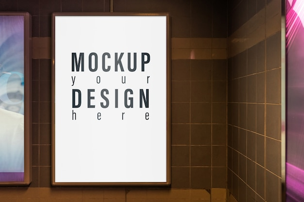 Mockup of light box in a city on the wall for your advertising.