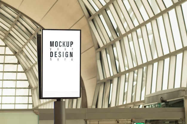 Mockup light box with blank copy space screen for advertising or promotional poster content