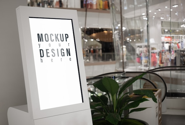 Mockup lightbox with blurred modern shopping mall
