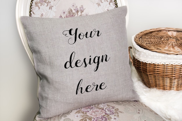 Mockup of linen pillow, cushion on a chair