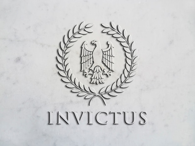 Mockup logo in high relief on marble