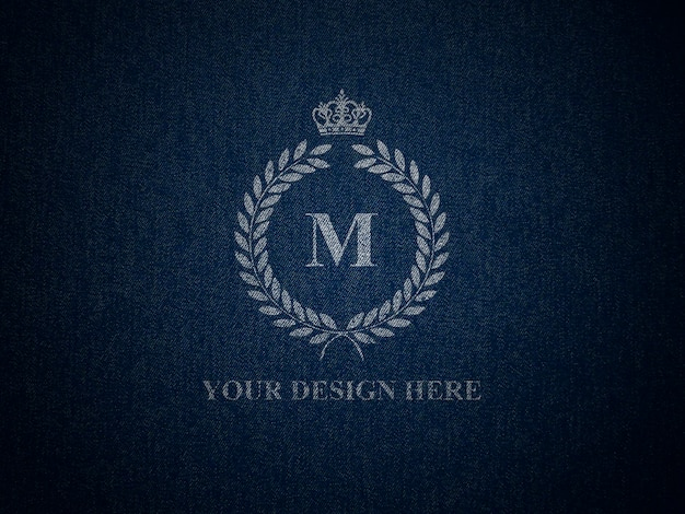 Mockup for logo on jeans texture