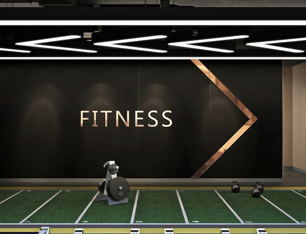 Mockup logo in modern contemporary fitness center