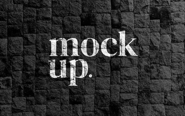 Mockup logo realistic on brick wall