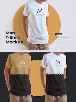 Мужские длинные футболки mockup