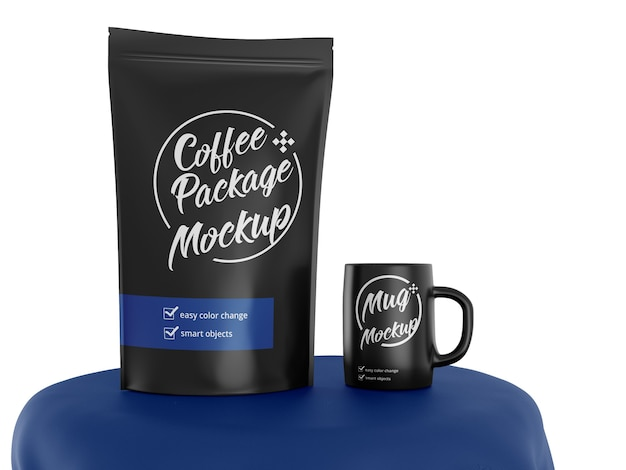 Mockup of matte stand up bag with coffee cup