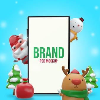 Mockup merry chistmas design 3d rendering