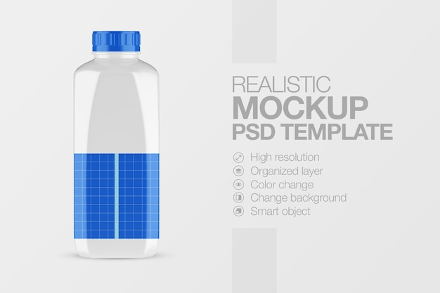 Mockup milk plastic bottle