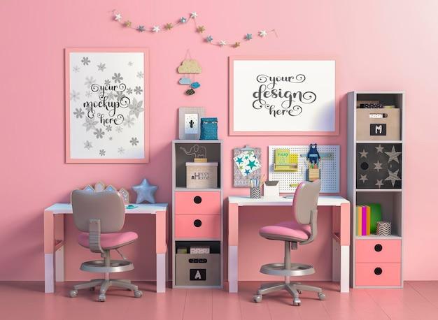 Mockup of modern kids room with desk for working