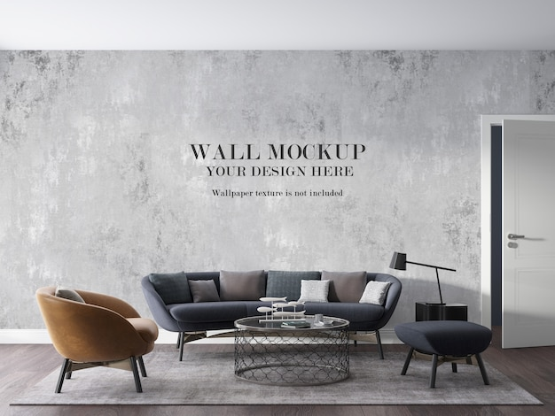 Mockup of modern sitting room wall with furniture
