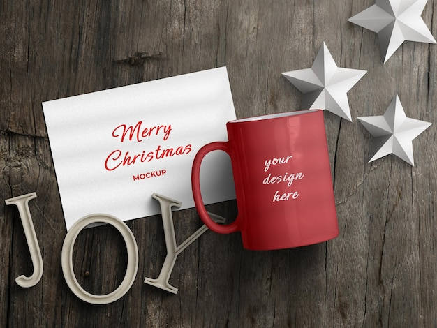 Mockup of mug and holiday greeting card flyer with christmas decoration concept flat lay isolated