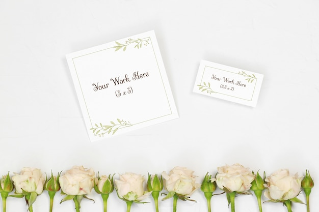 Mockup name card and thank you card with flowers