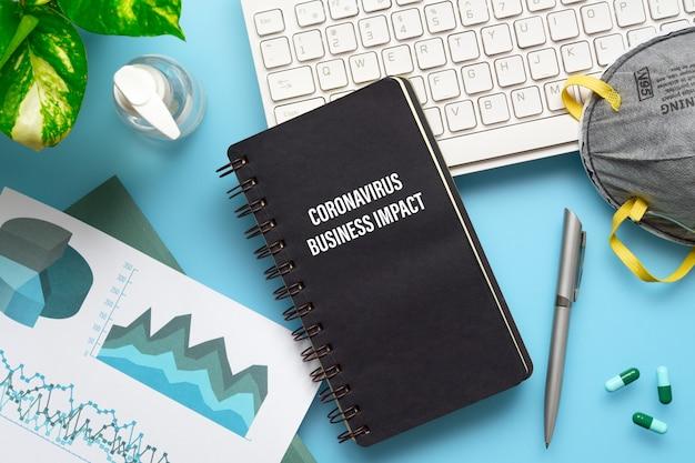 コロナウイルスのビジネスインパクトコンセプトのモックアップノートブック。