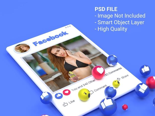 3dfacebookソーシャルメディア画像投稿のモックアップ