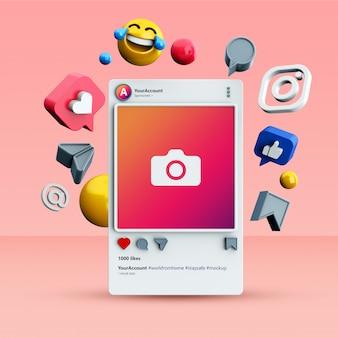 3d instagram 소셜 미디어 게시물 모형