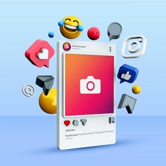 3d Instagram 소셜 미디어 게시물 모형 프리미엄 PSD 파일