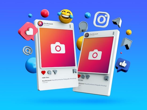 3d instagramソーシャルメディア投稿のモックアップ