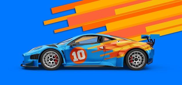 強力な豪華な青いスポーツカーのモックアップ