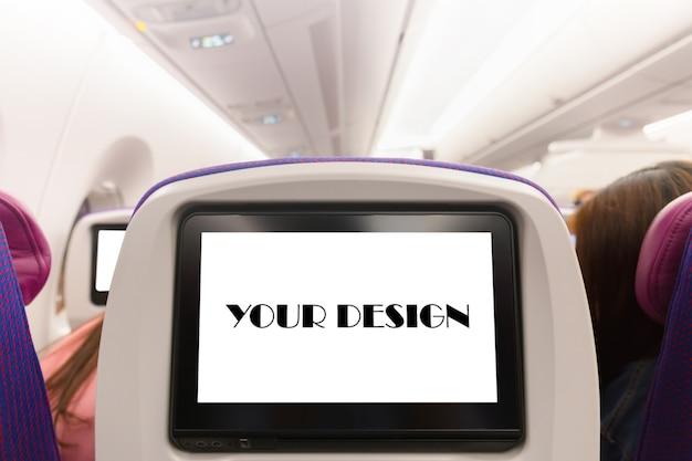 Макет монитора самолета на салоне в салоне пассажирского сиденья