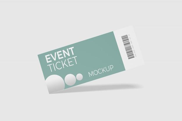 分離されたイベントチケットのモックアップ