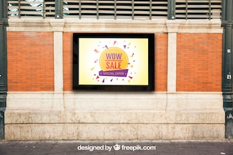 Mockup of billboard on city wall