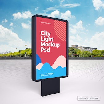 Макет черного вертикального наружного рекламного стенда на улице города