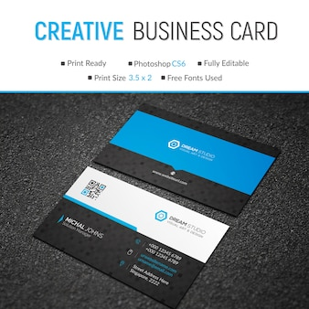 Mockup of blue and black business card