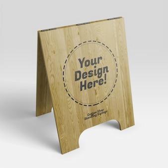 遠近法でカフェ木製オープンスタンド看板のモックアップ