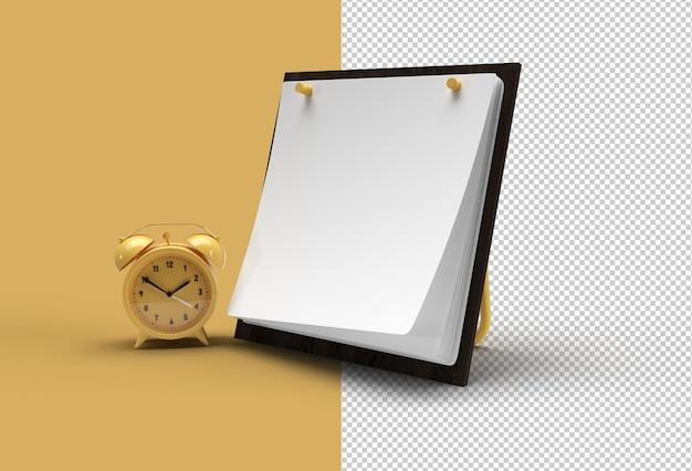 알람 시계 투명 psd 파일이 있는 달력 모형.