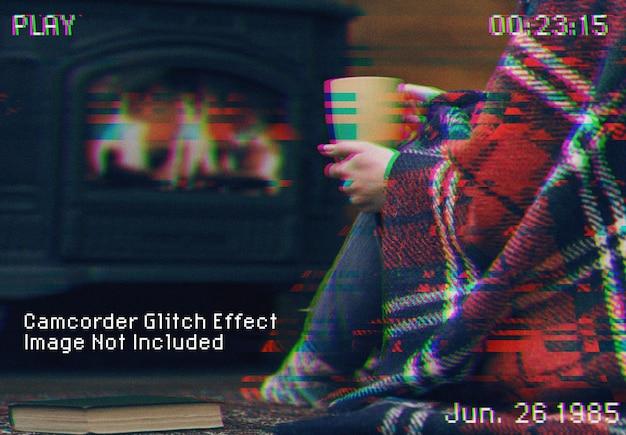 ビデオカメラのグリッチ効果のモックアップ