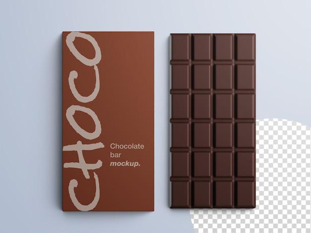 分離されたチョコレートバーのパッケージのモックアップ