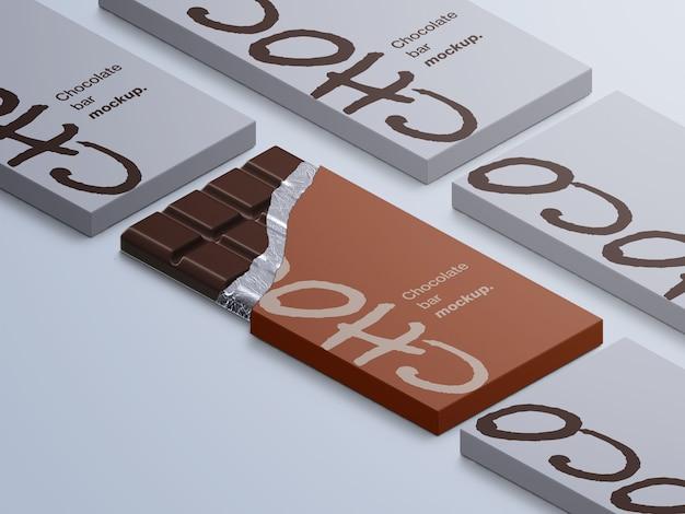 고립 된 초콜릿 바 포장의 모형